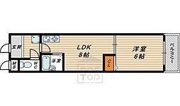サニーパレス京橋 4階1DKの間取り