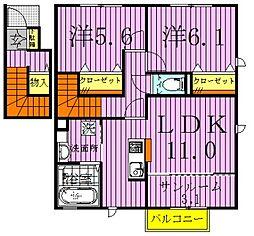 フォレステージイーストA・B[B-201号室]の間取り