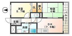 滋賀県東近江市御園町の賃貸マンションの間取り