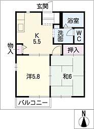 デンパ−クヒルズB[2階]の間取り