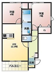 ラ・メゾンドゥアミーA棟[1階]の間取り