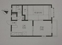 JR中央線 国立駅 徒歩19分の賃貸アパート 2階2DKの間取り