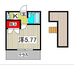 埼玉県蕨市中央4丁目の賃貸アパートの間取り