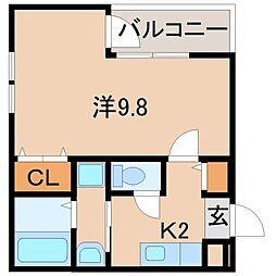 JR阪和線 和歌山駅 徒歩9分の賃貸アパート 2階1Kの間取り