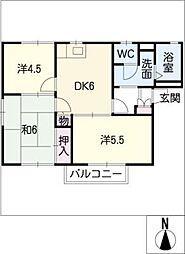 ハイマート本城D棟[1階]の間取り