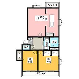 ウイング柴B棟[1階]の間取り