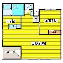 北海道札幌市東区北七条東8丁目の賃貸アパートの間取り