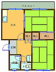 マンション宮下B 2階2DKの間取り