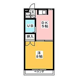 河合タウン388 A棟 1階1DKの間取り