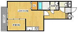 レジデンスTamaya A[1階]の間取り