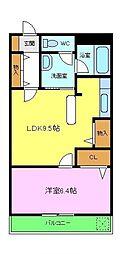 南海高野線 狭山駅 徒歩8分の賃貸マンション 4階1LDKの間取り