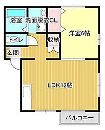 静岡県浜松市東区半田山5丁目の賃貸アパートの間取り
