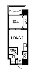 FDS AZUR 13階1LDKの間取り