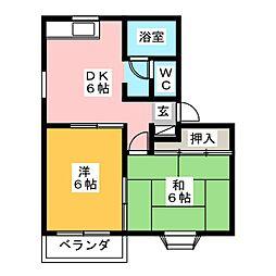 ユーハイツ南城 B棟[2階]の間取り
