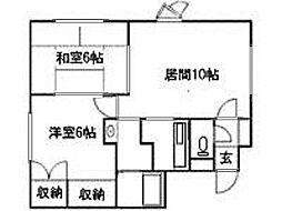北海道札幌市清田区北野一条2丁目の賃貸アパートの間取り