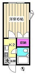江上ハイツC棟[1階]の間取り