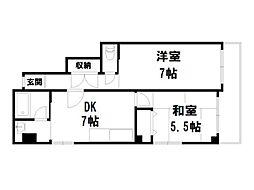 御所西シンワマンション[6階]の間取り