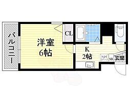 Osaka Metro谷町線 都島駅 徒歩3分の賃貸マンション 4階1Kの間取り