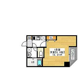 金太郎ヒルズ243 松ケ谷 5階1Kの間取り