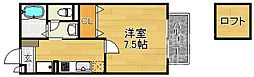 京都府京都市西京区桂河田町の賃貸アパートの間取り