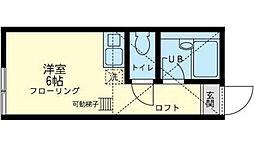神奈川県横浜市金沢区六浦南1丁目の賃貸アパートの間取り
