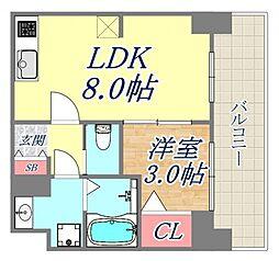 プレサンス兵庫駅前 14階1Kの間取り