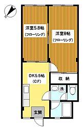 神奈川県横浜市神奈川区西寺尾4丁目の賃貸アパートの間取り