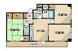 東京都府中市宮町2丁目の賃貸マンションの間取り