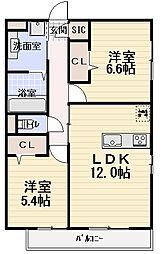 セジュール南寺方[2階]の間取り