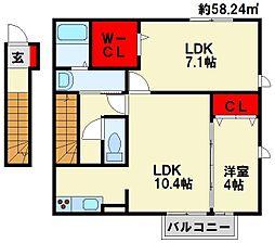 仮)D−room与原CⅡ A棟[201号室]の間取り
