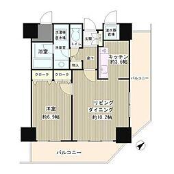 JR山手線 目黒駅 徒歩8分の賃貸マンション 2階1LDKの間取り