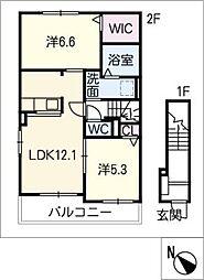 プラシード A棟[2階]の間取り