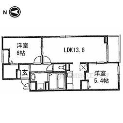 アヴェニール山崎 3階2LDKの間取り
