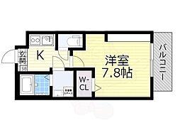 JR阪和線 鳳駅 徒歩15分の賃貸マンション 1階1Kの間取り