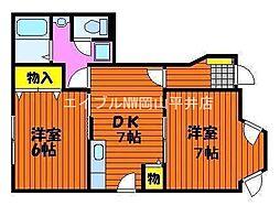 岡山県岡山市東区古都宿丁目なしの賃貸アパートの間取り