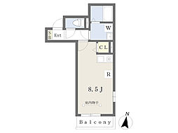JR東海道本線 平塚駅 徒歩7分の賃貸アパート 2階ワンルームの間取り