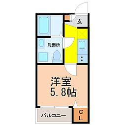 仮称)山田町三丁目デザイナーズ[2階]の間取り