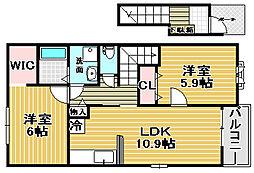 大阪府高石市西取石3丁目の賃貸アパートの間取り