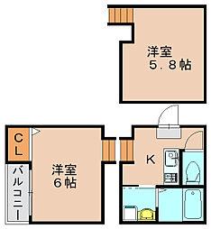 リバティ美野島[1階]の間取り