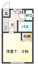 栃木県宇都宮市今泉町の賃貸アパートの間取り
