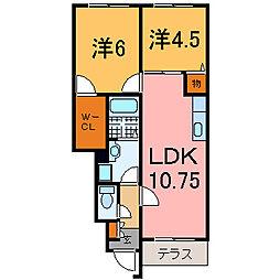 兵庫県加古川市加古川町友沢の賃貸アパートの間取り