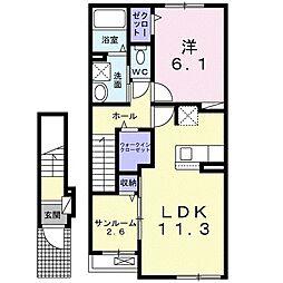 JR久大本線 筑後吉井駅 徒歩24分の賃貸アパート 2階1LDKの間取り