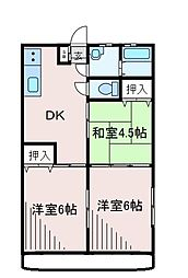 東京都町田市南大谷の賃貸アパートの間取り