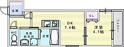 フジパレス江坂町 3階1DKの間取り