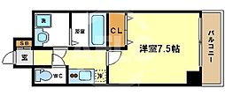 W.O.B.UMEDA 4階1Kの間取り