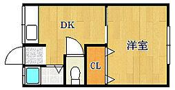 大阪府茨木市天王2丁目の賃貸アパートの間取り