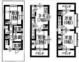 [一戸建] 大阪府八尾市西山本町5丁目 の賃貸【/】の間取り