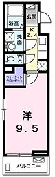 JR青梅線 福生駅 徒歩10分の賃貸アパート 2階1Kの間取り