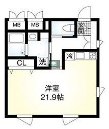 仮)翠川ビル 2階ワンルームの間取り