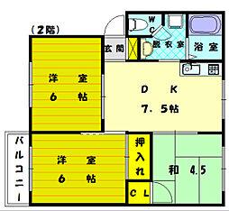 福岡県福岡市東区三苫3丁目の賃貸アパートの間取り